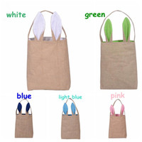 Wholesale Easter Bunny Bags Dual Layer Bunny Ears Design Jute Cloth Material Easter Egg Bags Carrying Eggs Gifts for Festival Party Size quot