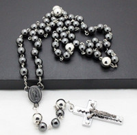 wholesale hematite jewelry - men jewelry newest design hematite semi pricious beads stainless steel cross rosary necklaces high quality