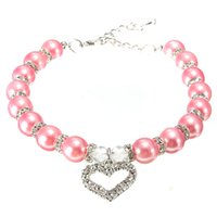 Wholesale Hot sales Fashion For Pink Pet Dog Pearls Necklace Collar with Crystal Heart Charm Pendant Jewelry New order lt no track
