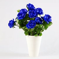 "Wholesale Single Stem Rose Flower - 25"" 2015 single rose stem flowers New Bridal Wedding Decoration Artificial Bridesmaid WHITE BLUE DIAMOND ROSES real touch flowers wholesale"