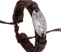 beaded gecko - 2015 latest version punk style genuine leather bracelet handmade Alloy men gecko rope adjustable bracelet