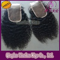 Wholesale inch Kinky Curly Virgin Brazilian human hair lace closure Free Middle part lace closure x4 natural color closure