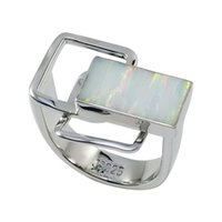 Wholesale Rectangular opal gemstone lied in irregular sterling silver ring pure handmade luxury solitaire ring for R6511