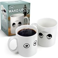 white ceramic mug - 96 Fedex Free Shippping Ceramic Wake UP Eyes Color Changing Cup Coffee Mug Creative Mugs For Milk Water With Retail Package