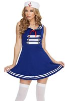 adult navy costume - Deluxe Pin up Sailor Costume Adult Sexy Halloween Cosplay Party Dress For Women Navy Paris Sexy Sailor Girl Uniform Costume
