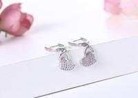Wholesale Heart Love Cubic Zircon Clear Amethyst Crystal Stud Earrings Women Brass Sterling Silver Fashion Fine Jewelry Femme Bijoux