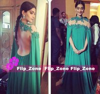 Cheap Sexy Backless 2016 Arabic Prom Dresses Sonam Kapoor Long Cape High Neck Appliques Illusion Back Green Dubai Evening Party Celebrity Gowns