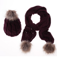 Wholesale 2015 Winter Scarf Hat Knitted Scarf And Hat Set For Women Thicken Knitted Hat Faux Fur Hat Scarf Best Quality SV012854