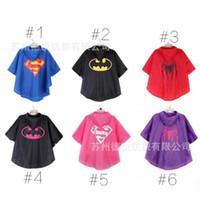 Wholesale New Kids Rain Coat children Raincoat Rainwear Rainsuit spider man Batman s Cape poncho Kids Waterproof Superhero Raincoat YY25318