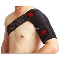 Wholesale Hot Light Weight Adjustable Single Shoulder Support Brace Posture Gym Sport Injury Guard Back Pad Neoprene Pain Relief Black order lt no tra