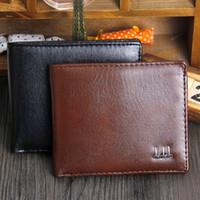 New Vintage PU Mens Portefeuilles Fine Bifold Brown Noir PU Leather Carte de crédit Cool tri fold Wallet pour les hommes A086