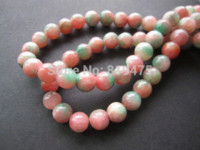 Wholesale mm Natural stone beads Round Pink Green Color quot Fashion beads for bracelet Necklace