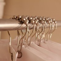 Wholesale Cheap pack Set Package Polished Satin Nickel Roller Ball Shower Curtain Rings Hooks