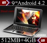 al por mayor netbook baja-Al por mayor - 2PCS Mini portátil para los niños de 9 pulgadas Android 4.2 Jellybean CPU de doble núcleo precio más bajo para netbook SW2