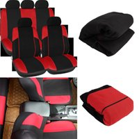 Wholesale 11pcs Black Red Car Seat Covers Set Seat Protector Mat Pads Car Care