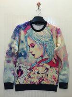 Cheap Free shipping 2015 Women Men Sexy Funny pullovers 3D Hoodies Sweatshirts cartoon naked bomb Galaxy hoodies S-XL, winter jacket