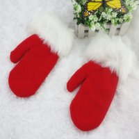 Wholesale Christmas Hot Style Mittens White Wool Thick Warm Red Velvet Lines Gloves High Quality Fashion Accessories