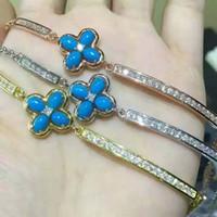 achat en gros de rose jaune bracelets en or blanc-S925 or blanc / or rose / or jaune plaqué naturel turquoise size4 * 6mm bracelets quatre feuille trèfle bijoux de mode nouvelle