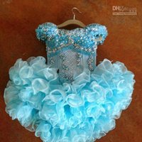 beads flower cup - 2013 GD15 Beautiful Girl s Pageant Dress Short Cup Cake Gown Ruffled Organza Toddler Dress