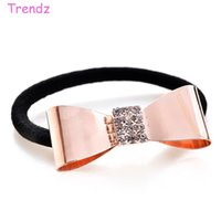 Wholesale Yiwu Trendz Jewelry Crystal Rhinestone Hair Accessories Bow knot Headbands Gold Rose Pearl Hair bands Girls Favorite FG_G01
