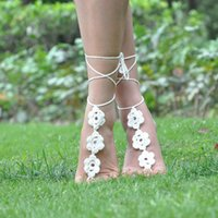 beach wedding shoes - Hot selling Pure Handmade crochet Flower barefoot sandals wedding anklets beach anklets shoes ornament ankle bracelet Valentine gift L103