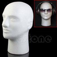 Wholesale PC Styrofoam Foam Mannequin Manikin Male Head Model For Wig Hat Glasses Display Stand