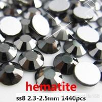 Nizijewelry flat back gems - Non Hot Fix Rhinestones ss8 mm Hematite Color Flat Back glue on rhinestone gems