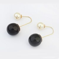 acrylic crystal hook - Fashion wild pearl earrings manufacturers simulated pearl copper hook style drop ball earrings hoops large fashion jewelry