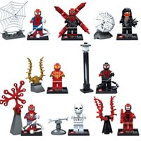 Wholesale 8pcs Avengers Super Hero Spider Man Minifigures Blocks Brick Building Blocks Assembled Model Toys Gifts