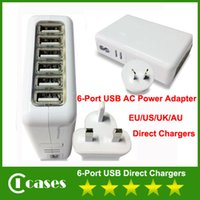 Wholesale 6 Port USB Family Sized AC Power Adapter EU US UK AU Plug Home Travel Wall Direct Chargers For Mobile Phone HTC Samsung iPhone