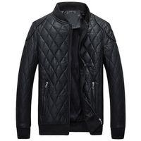 Wholesale C12 Winter New Men s Slim Leather Jacket Men leather Bomber Biker leather Jackets For Men Skin Jacket Coat