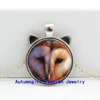 barn owl - 2016 New Barn Owl Pendant Barn Owl Necklace Jewelry Glass Dome Pendant Necklace CN