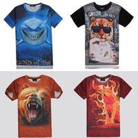 fire fox - T Shirt Men Grizzly Bear T shirt D Shark Junior Clothing Hip Hop Streetwear Punks Tiger Face Fire Fox Tshirt Funny T Shirts New