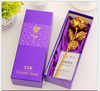 Wholesale rose flower k gold foil Valentines Gift new year creative birthday present decorative home accessories