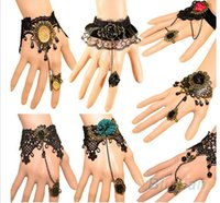 flower bracelet - 2015 hot selling charm bracelets fashion Retro Vintage Lady Handmade Jewelry Gothic Lace Flower Finger bangle Bracelets for women styles