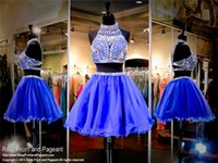 art deco christmas - 2016 Two Pieces Short Homecoming Dresses High Neck Rhinestones Crystals Blue Christmas Cocktail Party Gowns Girls Prom Dress Sexy Backless