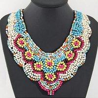 Wholesale Bohemian vintage statement necklace for women Nepal Tibetan Ethnic style braided resin bead bib collar necklace