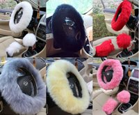 Wholesale New Arrival Pink long Wool Plush Steering Wheel Cover Woolen Car Accessory