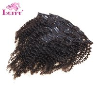 Wholesale Luffy Hair Women s Human Hair Clip in Hair Extensions Kinky Curly Natural Color g Per Bundle