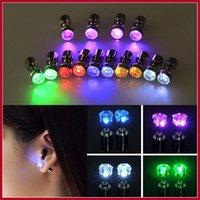 Wholesale Novelty LED Flashing Light Stainless Steel Ear Stud Earrings Fashion Jewelry rave toys gift Rhinestone