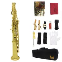 Wholesale LADE Soprano Saxophone SAX Set Bb Brass Lacquered Gold Body and Keys with Lubricating Cork Grease gloves order lt no track