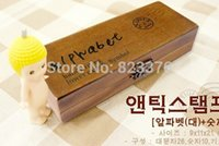 Wholesale DHL set handwriting Alphabet stamp Creative letters and symbol stamp wooden stamp wooden box