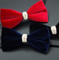 Wholesale Men s Suit Silk Velvet Bowtie Adjustable Wedding Bridegroom Party Bow Tie Pearl Drill Neckwear Pure Color Handmade Perfect Gifts K1008