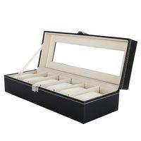 modern jewelry - 6 Grid Leather Watch Display Case Jewelry Collection Storage Organizer Box Holder DHL H9625