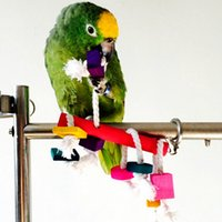 Wholesale 1Pcs Colorful Wood Bird Parrot Cage Small Toys Lovely Pet Cockatiel Parakeet Climbing Chewing Accessories