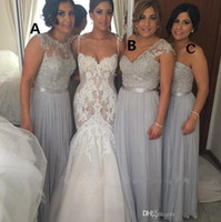 Wholesale Silver Chiffon Long Bridesmaid Dresses Cheap A Line Beaded Lace Applique Mixed Styles Maid of Honor Dresses Summer Beach Dresses BO8543