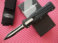 bench bag - Bench made BM Pagan pocket Knife Double edge Black Finished spear point blade good action BK A161 camping knife knives with nylon bag