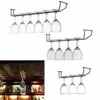 bar stemware rack - Champagne Stemware Holder Stainless Steel Chrome Plated Wine Rack Glass Cup Kitchen Wall Bar Hanger Enclosed Screw cm