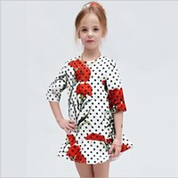 european clothing - Wlmonsoon Best Sale Girls Middle Sleeve Polka Dot A line Dress European Style Childrens Spring Clothing Kids Elegant Dress
