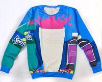 Cheap Hot 2014 fashion Women Men space Stitching Sprite coke Pullovers 3D Sweatshirts Hoodies Galaxy shirts sweat suit Tops 2 colors